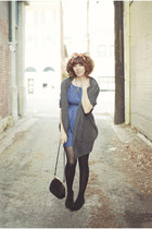 navy Tulle dress - gray ezra sweater - black vintage purse purse