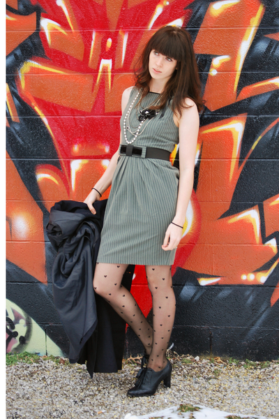blue Forever21 coat - gray dress - black tights - black shoes