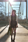 Gray-cardigan-black-modcloth-dress-black-stockings-green-scarf-black-sho
