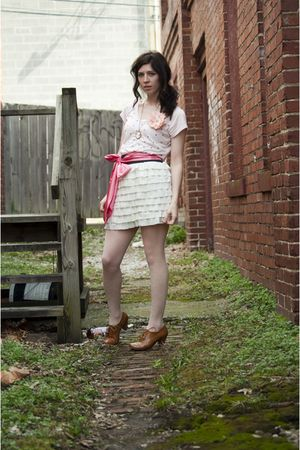 pink top - white skirt - pink belt - pink necklace - pink tights - brown shoes