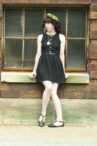 green hat - black Urban Outfitters shoes - black BB Dakota dress