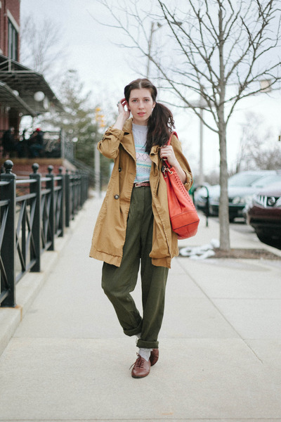 sky blue Sweater sweater - camel trench jacket - army green pants pants