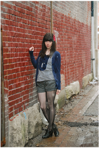 blue Target cardigan - blue modcloth blouse - gray shorts - black stockings - bl