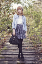 a line skirt - jean jacket jacket - blouse - heels