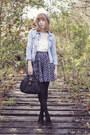 Jean-jacket-jacket-a-line-skirt-blouse-heels