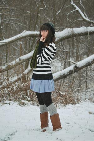 black Target shirt - blue BB Dakota dress - gray stockings - black hat - brown b