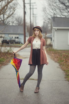 long cardigan cardigan - booties born boots - bowler hat hat