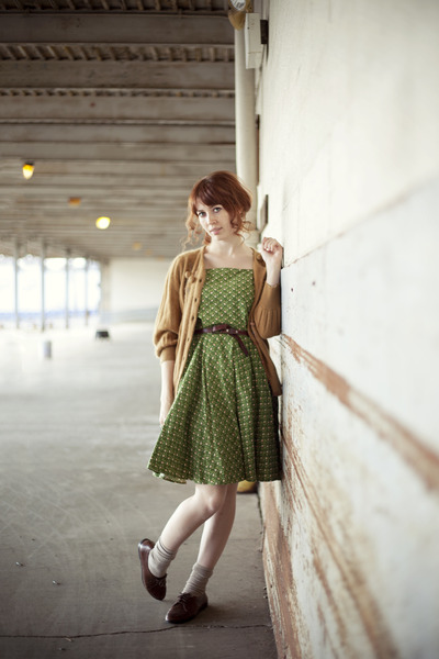 burnt orange romwe cardigan - olive green dress - dark brown oxfords flats