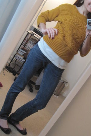 yellow b moss sweater - white Old Navy top - blue Denim Lab jeans - brown Gap sh