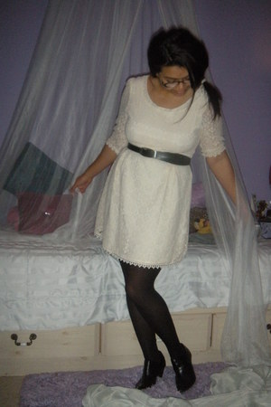 thrifted dress - Old Navy boots - Nine West tights - Nine West belt