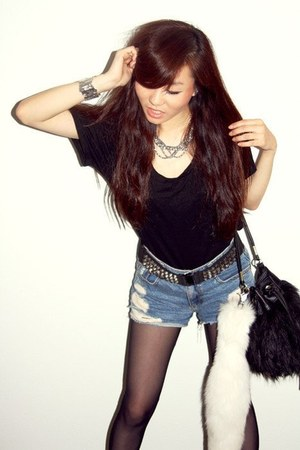 black cereal shirt - black H&M bag - navy vintage shorts - black studded belt Ho