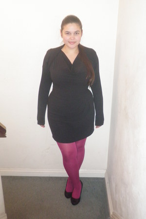 black closet dress - magenta Marks and Spencer tights