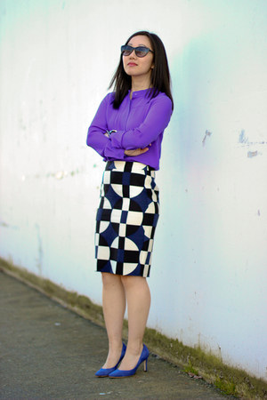 navy pencil JCrew skirt - cat eye Joe Fresh sunglasses - blue suede JCrew pumps