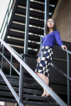 navy pencil skirt J Crew skirt - blue v-neck wool banana republic sweater