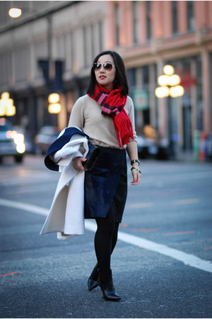 navy calf hair Club Monaco skirt - black ankle Emerson Fry boots
