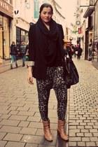 dept blazer - circle Bershka scarf - Primark bag - leopard print Topshop pants