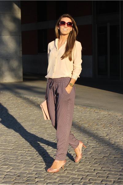 peach Zara blouse - light pink Forever21 purse - purple Zara pants