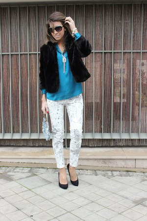 black BLANCO coat - sky blue Expressions NYC purse - white Zara pants