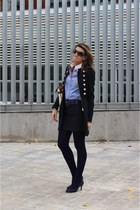 navy Zara coat - navy Marypaz shoes - bronze Aldo purse - navy Zara skirt