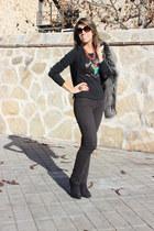 dark gray H&M coat - black Forever21 boots - black Uniqlo jeans
