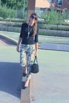 black liz claiborne purse - Zara pants - silver Forever21 necklace