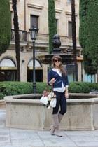 beige Zara boots - navy Mango jeans - navy BLANCO jacket - bronze Aldo purse