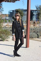 black Zara blazer - black Zara Kids dress - gold banana republic purse