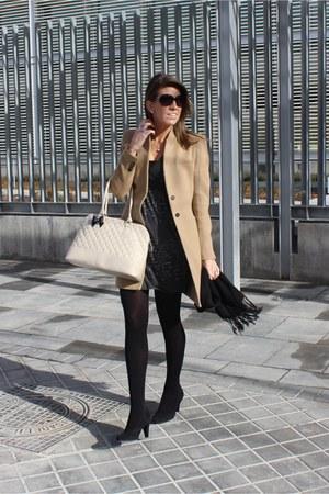 camel Zara coat - beige Primark purse - black Bijou Brigitte sunglasses