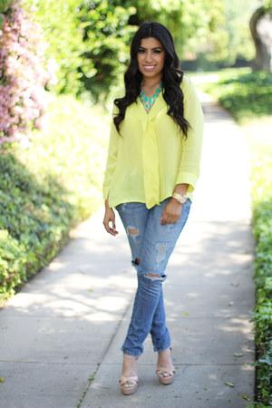 Sarine Marie blouse - jeans - heels