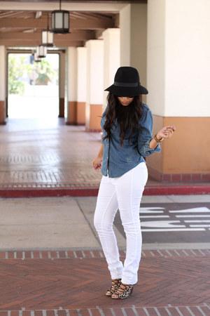 hat - heels - pants