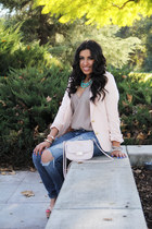jeans - blazer - purse - necklace