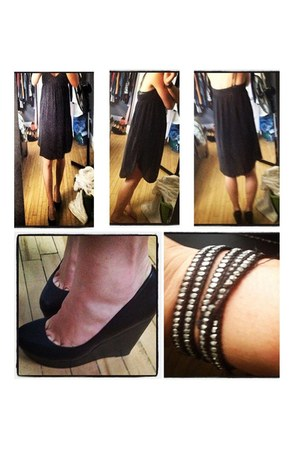 black wilfred dress - black Aldo pumps - silver bracelet