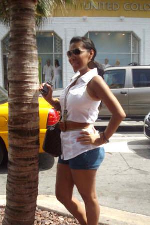 white Guess shirt - Louis Vuitton bag - blue Forever 21 shorts - Michael Kors su