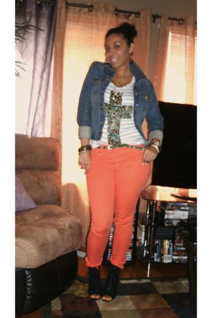 black Aldo shoes - carrot orange H&amp;M jeans - leopard cross Forever 21 shirt
