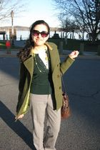 green banana republic sweater - green coat - gray banana republic pants