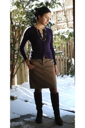 purple banana republic sweater - beige free people skirt - brown xmas gift boots
