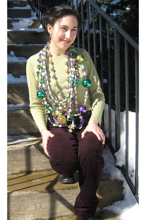 purple necklace - gold necklace - green necklace