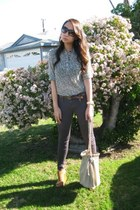 light brown skinny J Brand jeans - beige chain Forever 21 bag - black rectangula
