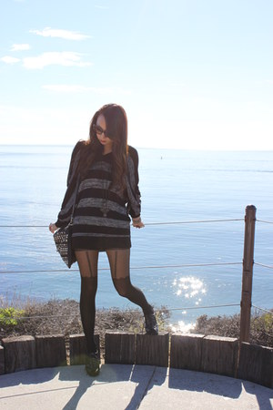 black unknown brand sweater - black unknown brand shorts - black Forever 21 tigh
