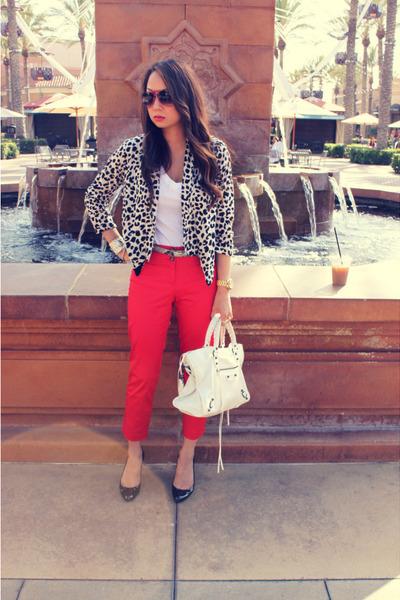 brown knit blazer Forever 21 blazer - white city handbag balenciaga bag - black