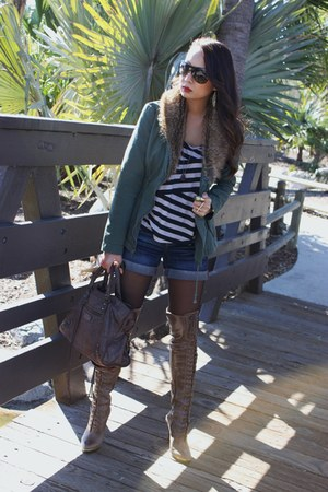 dark brown lace up boots Joie boots - army green ecoist jacket - dark brown bale