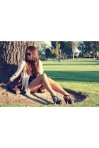black dany platforms Jessica Simpson heels - peach H&M blazer