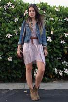 magenta floral print Rachel Pally dress - camel Frye boots