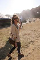 cream free people sweater - dark brown jw hulme purse