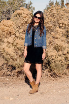 black lace madewell dress - camel Frye boots - navy denim Gap jacket