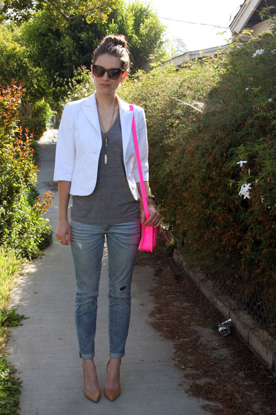 hot pink cambridge satchel purse - light blue slouchy skinny AG Jeans jeans