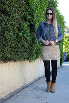 tan sequin Zara skirt - tan Frye boots - blue denim Gap jacket