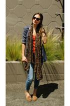 light brown Zara scarf - sky blue Paige Denim jeans - navy rag & bone shirt