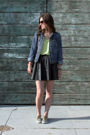 denim Gap jacket - madewell scarf - faux leather free people skirt