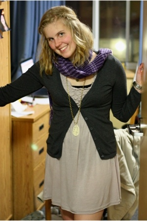 kmart sweater - Tie Rack scarf - Ruche dress - bardot necklace - Ruche necklace